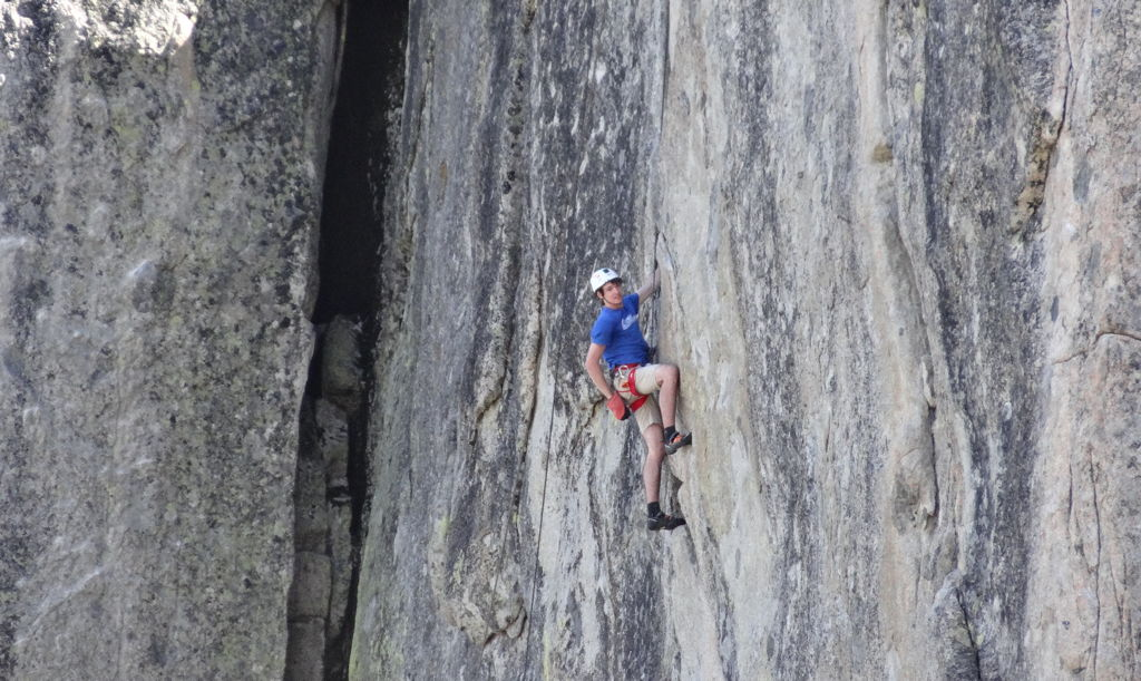 Connor climbing at Donner Pass, California.