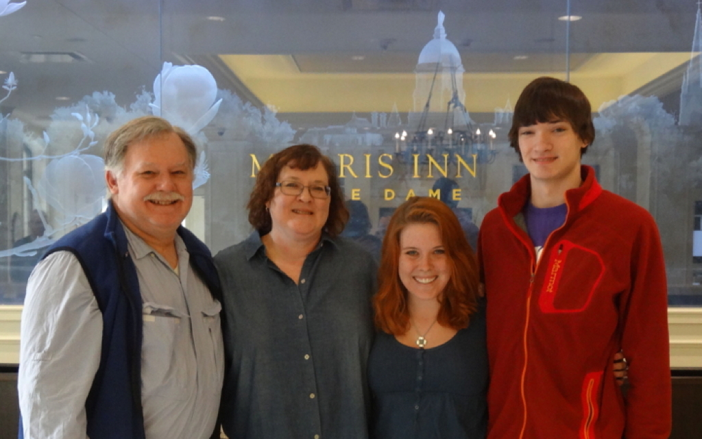 Vince, Cindy, Kelly and Connor Cronin at the Morris Inn, University of Notre Dame