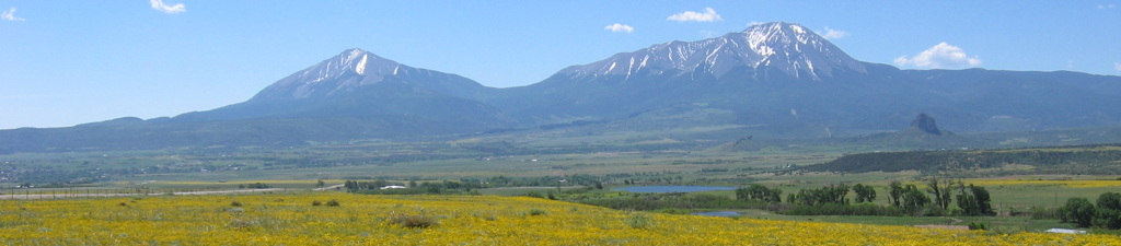 Spanish Peaks, Colorado, as viewed in late spring from the north, looking south.