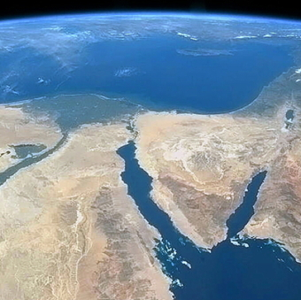 Photo of the Nile Delta, Sinai Peninsula and Dead Sea transform fault taken from a US spacecraft.